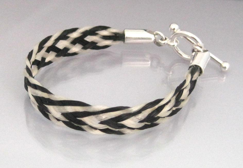 Black And White Chevron Flat Braid Horsehair Bracelet With Ball End Toggle Clasp